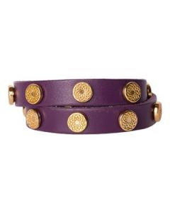 Eggplant Leather Wrap with Gold Studs