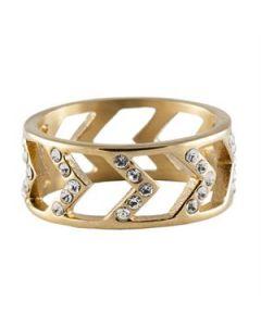 Gold Chevron Ring - Size 9